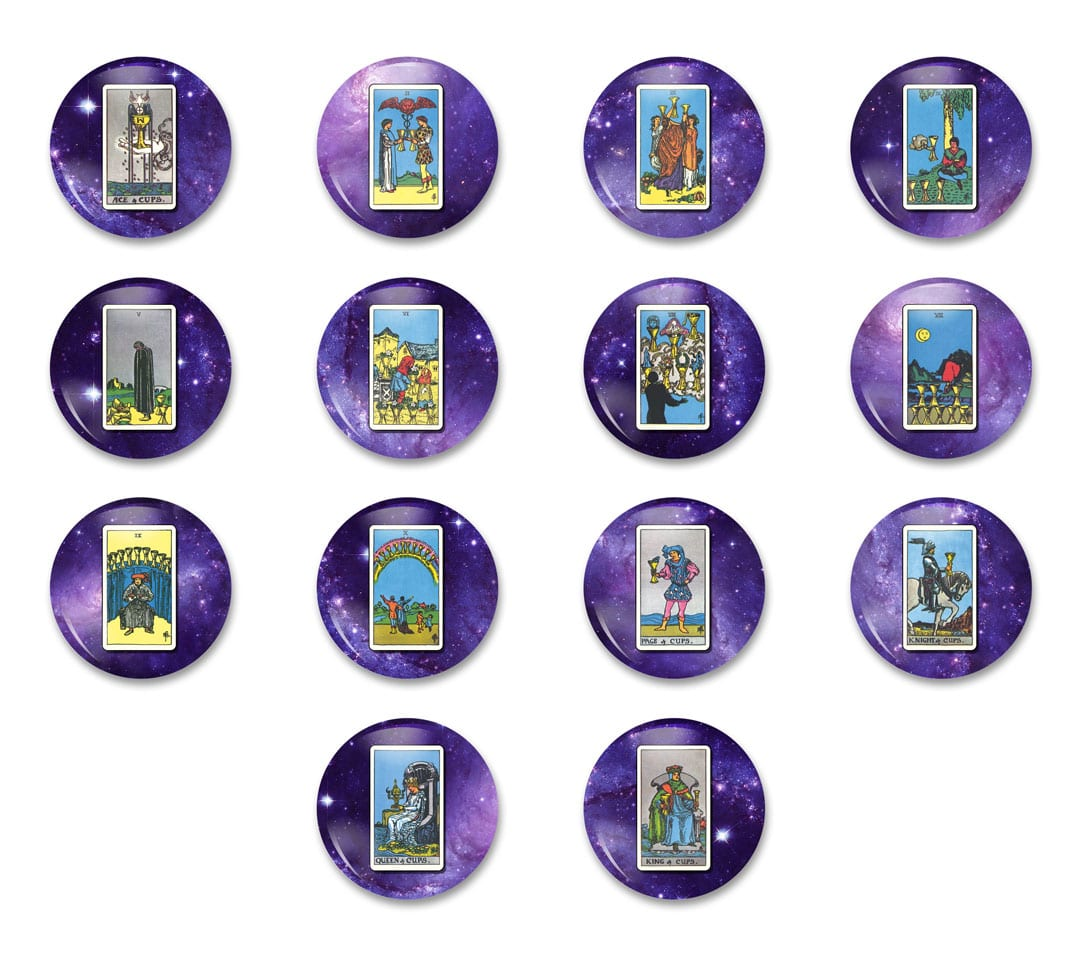 """2 Tarot Minor Arcana Cups Cards 1 14"""" Pinback Button Pack of Pins Jewelry 14 Pieces"""