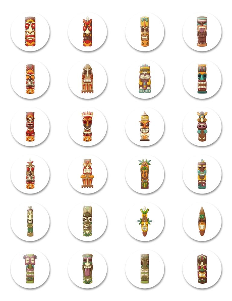 """Tiki-Totem-Godhead-Colored-Faces-1-14""""-Pinback-Button-Pack-of-Pins-Jewelry-24-Pieces"""