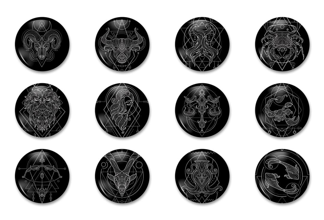 """7 Zodiac Astrology Black White Line 1 14"""" Pinback Button Pack of Pins Jewelry 12 Pieces"""