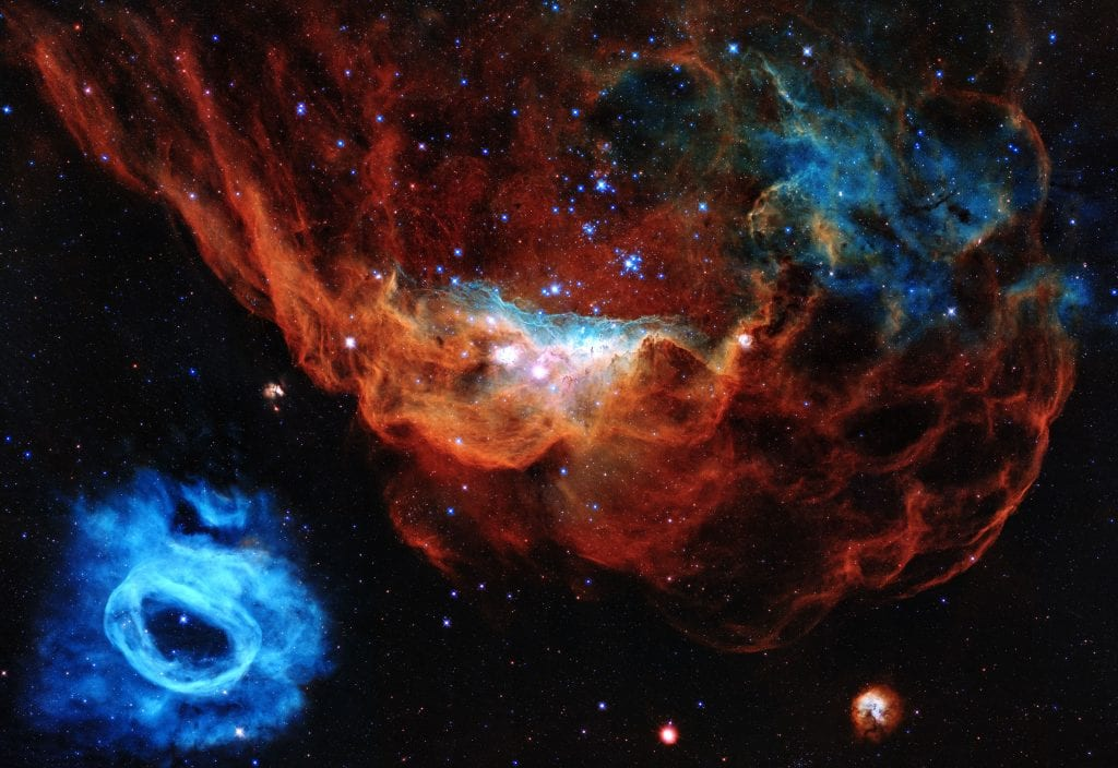 Blazing Starbirths in Cosmic Reef Inside the Large Magellanic Cloud Universe Space Photo Picture Image