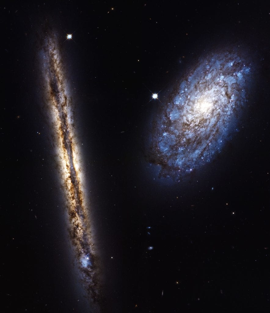 Spiral Galaxy Pair NGC 4302 NGC 4298 Universe Space Photo Picture Image